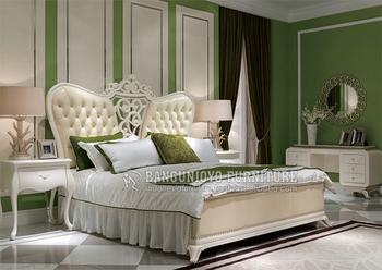 Royal European French Wood Carved Bedroom Furniture Set