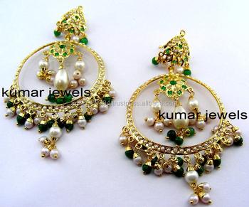Jadau Green Chandbali Earrings