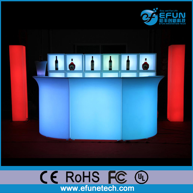 illuminated rgb color led plastic portable bar furniture,led restaurant counters