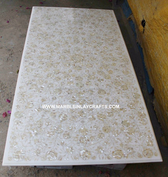 White Marble Inlay Dining Table Top With Mother Of Pearl Inlay Work