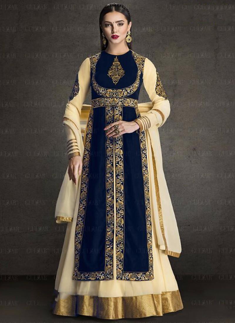 b77d7627e5 Green Faux Georgette Bridal Wear heavy embroidery work anarkali suit -  Diwali special anarkali dresses -