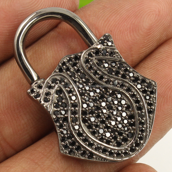 Traditional Lock Charm Pendant Natural BLACK SPINEL Gemstone 925 Sterling Silver
