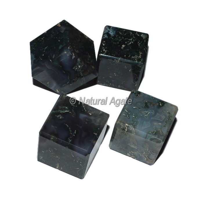 2016 Gemstone Cubes Natural Look Moss Agate Cubes