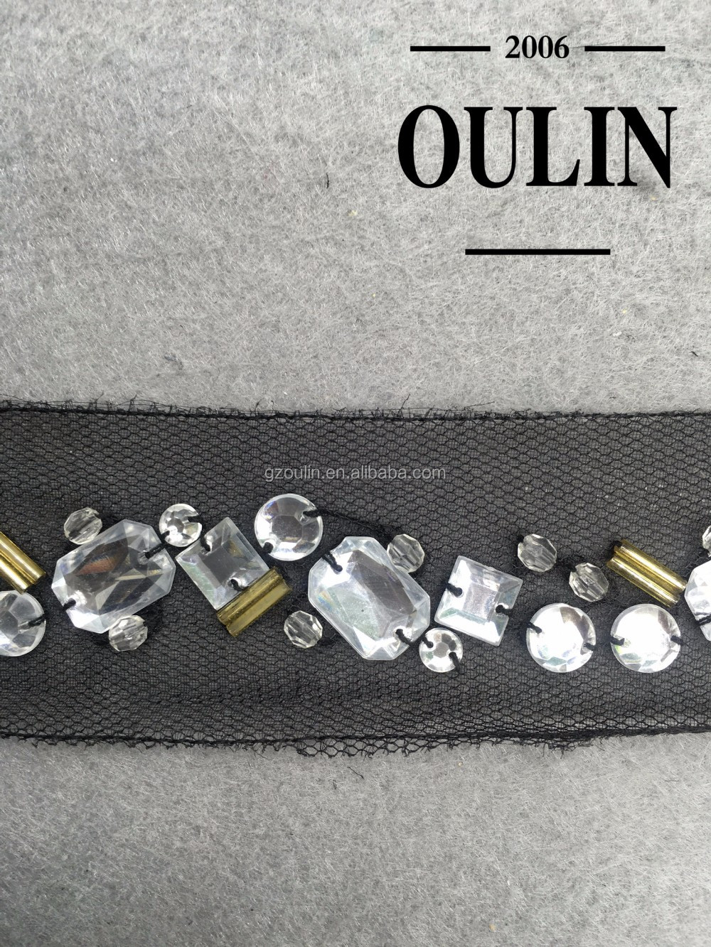 2017 hot selling Rhinestones garment trim Handmade garment trim black rhinestone lace for garments