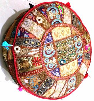Indian Bohemian Patchwork Pouf Ottoman Vintage Indian Moroccan Chair Bean  Bag