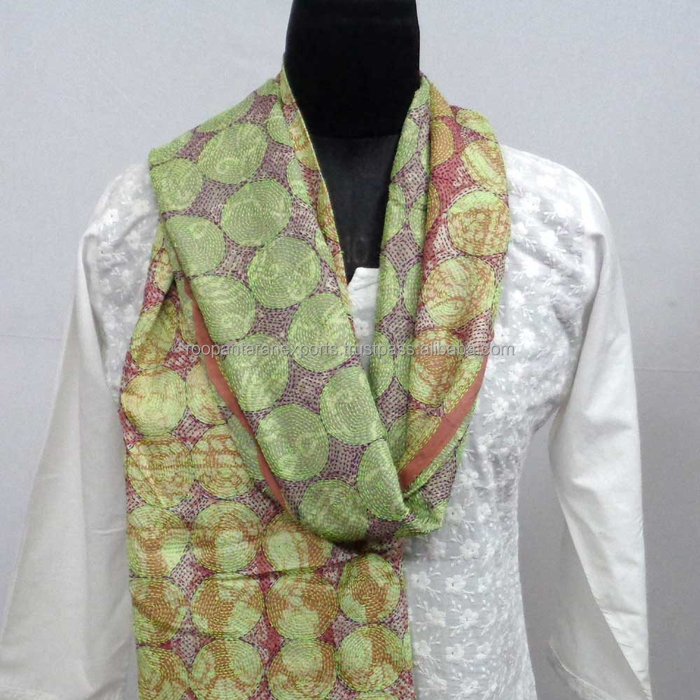 ladies daily wear stole scarfs embroidered multicolor reversible kantha silk stoles