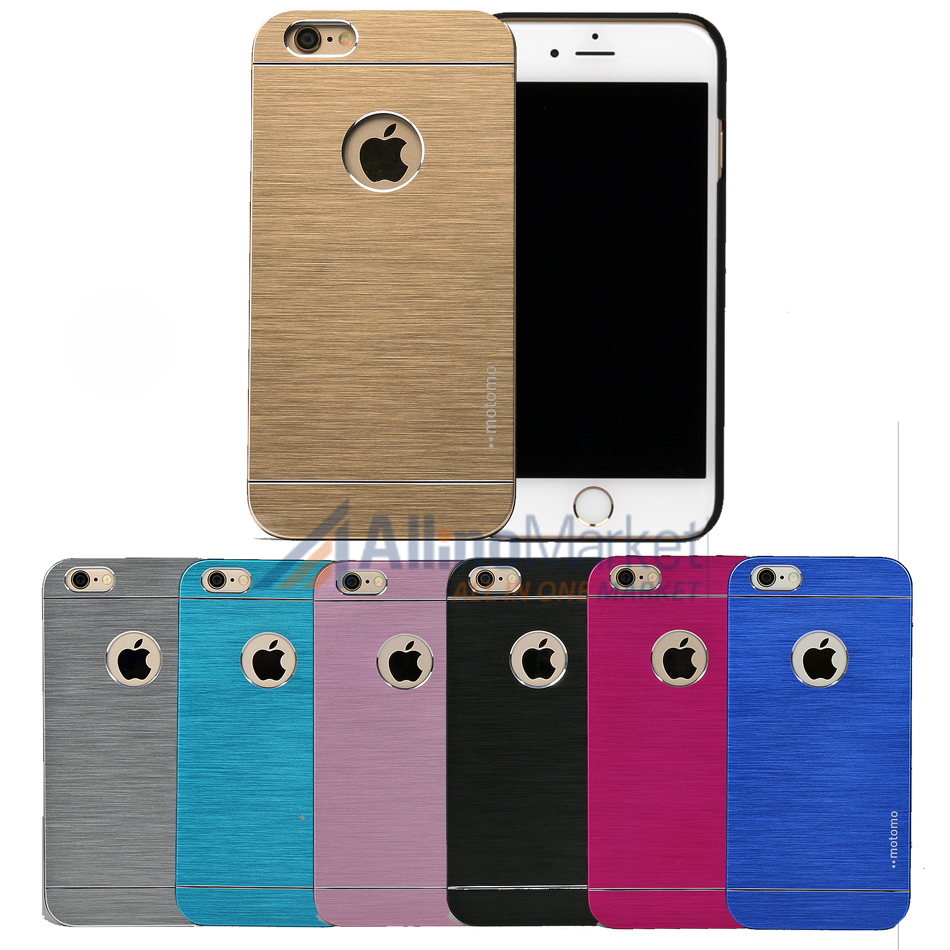 "Aluminum Brushed Metal Slim Thin Hard Cover Case for iPhone 6 & 6s 4.7"" with Rubberized Interior - Wholesale Los Angeles, USA"