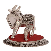 Motherhood - Decorative Cow And Her Calf White Metal Statue - Buy ...