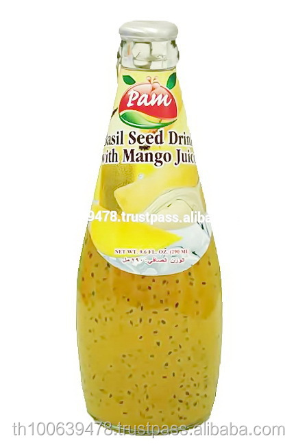 Basil Seed Drink With Mango Juice In Glass Bottle