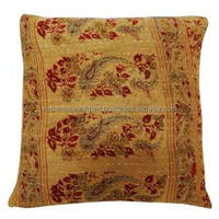 Mustard Designer Pillowcase Vintage Cotton Kantha Stitch Cushion Cover Throw Decorative Gift PL16431