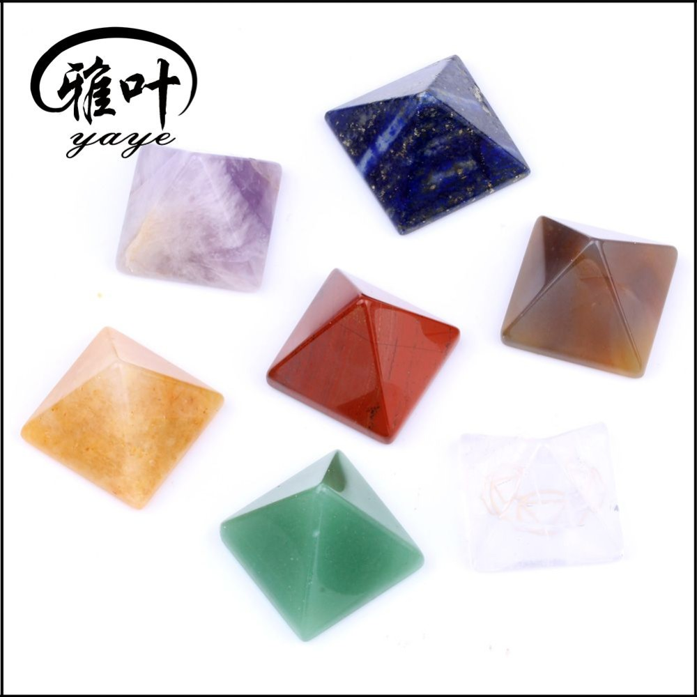 Wholesale Natural Gemstone Fengshui Healing Pyramid Reiki 7 Pieces Chakra Pyramid