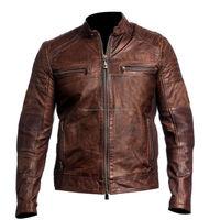 Mens Vintage Style Distressed Brown Leather Biker Jacket
