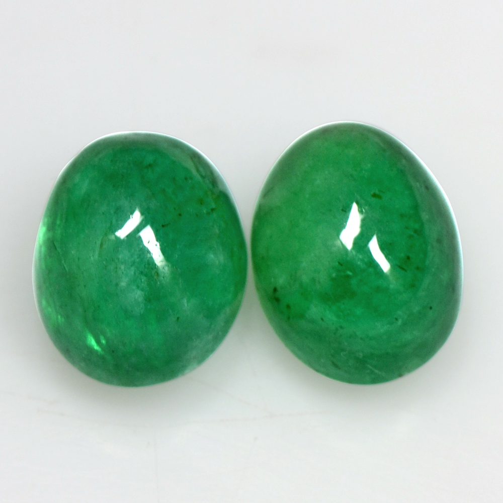 7.88 Cts Natural Emerald Gemstone Oval Cabochon Pair Untreated 10x8 mm Zambia