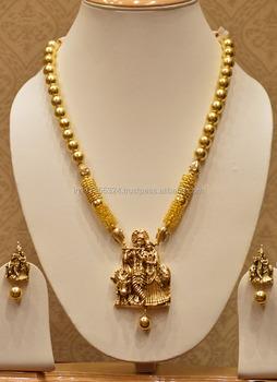 Temple Jewellery Radhe Krishna Necklace Set With Golden