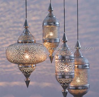 hanging moroccan lamp hand beaten metal lantern
