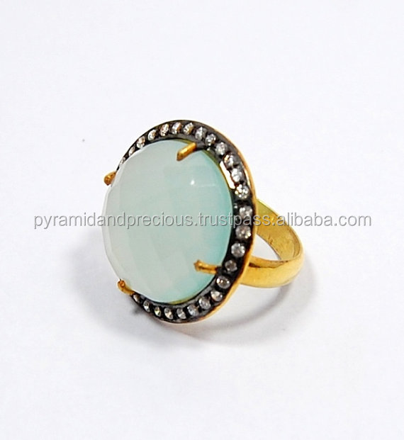 Aqua Chalcedony Gemstone Ring With Pave Set - 18mm Round Cut Stone