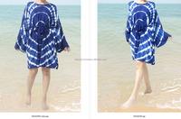 Handmade HIPPIE BOHO HAWAII Indeigo blue Tie dye kimono festival summer resort wear cover up kaftan gypsy oversize short dresses