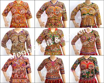 5390af7b5fe06a Mirror Work Blouse -Indian Banjara Choli Top- Gypsy Mirror work Blouse -  Fashion Vintage