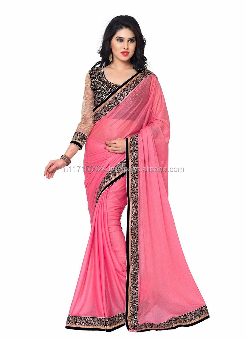 Pink Color Festival Wear Designer Saree - Simple Design Lycra Saree ...