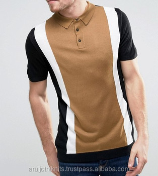30dd9698e1 Men's Polo Shirts In Three Tone Vertical Stripes - Buy Latest Design ...