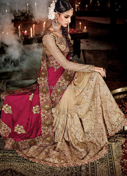 10faff0d55cb2 Saree - Heavy lacha lehenga style saree - Indian Bridal Wedding Lehenga  Saree 2016 - Bridal
