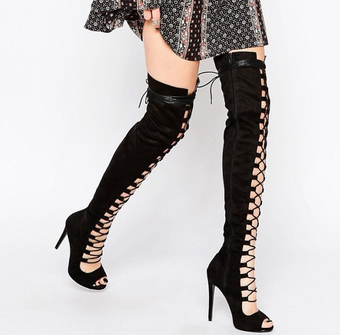 0a7a18a88f5b Sexy Women Black Taupe Suede Peep Toe Thigh High Lace Up Boots ...