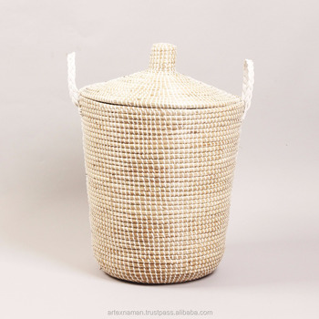 Home Handcrafts Vietnamese Coiled Seagrass Storage Basket, Laundry Hamper  From Vietnam