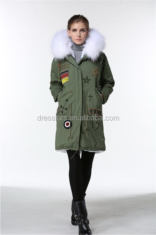 wholesale long coat faux fur lining raccoon fur hood trim by fast delivery from winter long coat factory