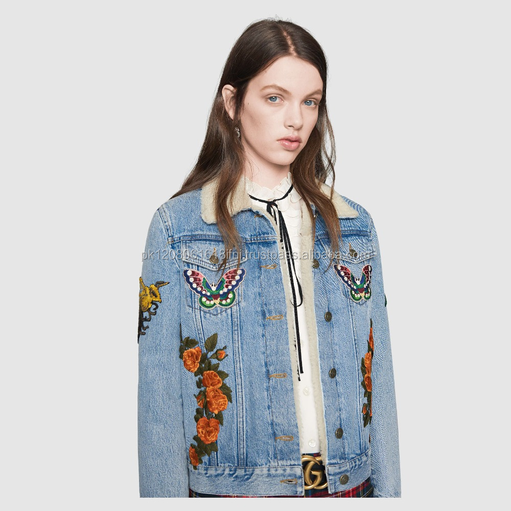 Ladies embroidery blue jeans jacket
