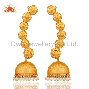Wholesale Gold Plated 925 Silver Ear Cuff Jhumkas Earrings Natural