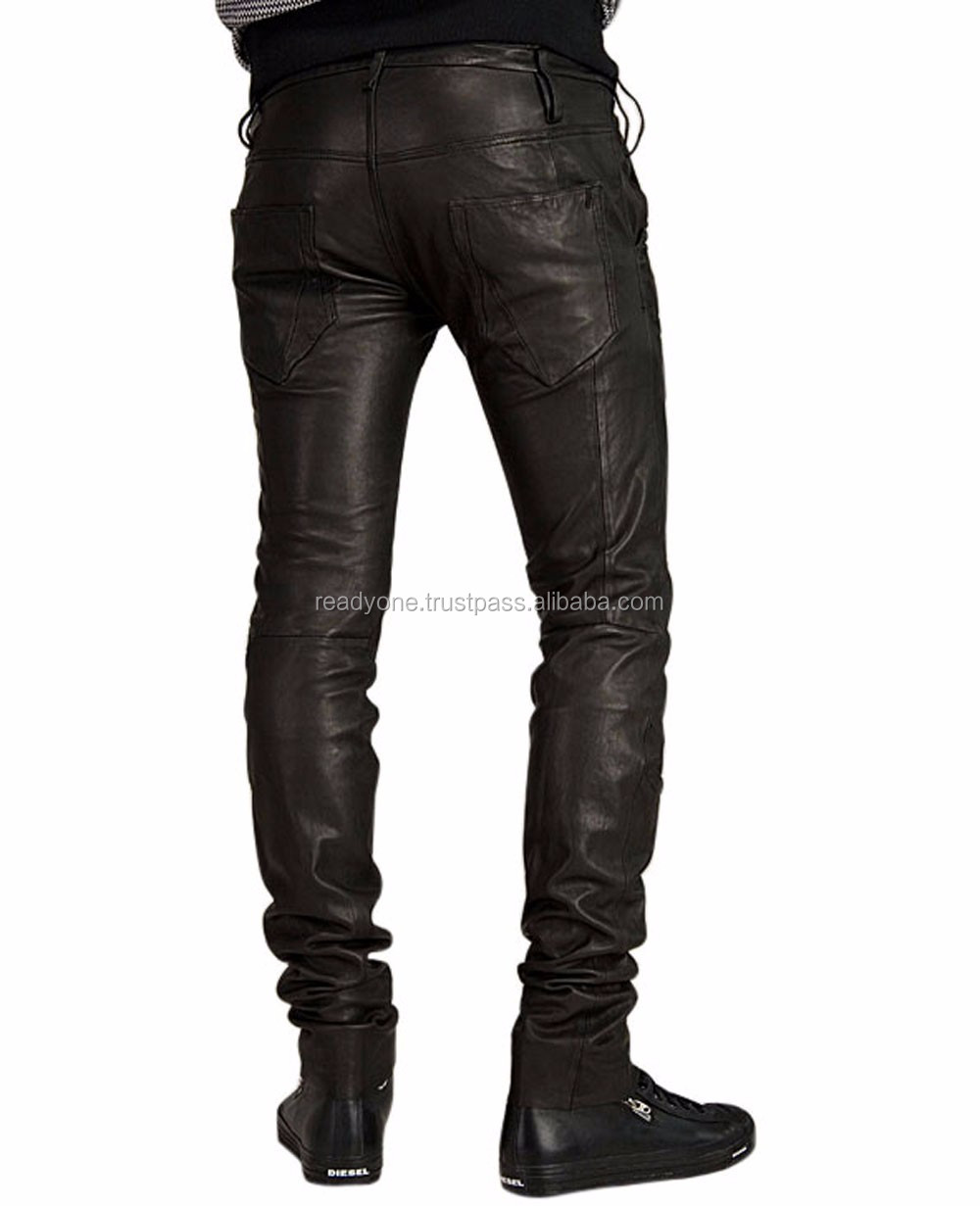 b683bf2fa04c Men Brown Leather Trouser   Men Leather Jeans   Side lace Leather pant