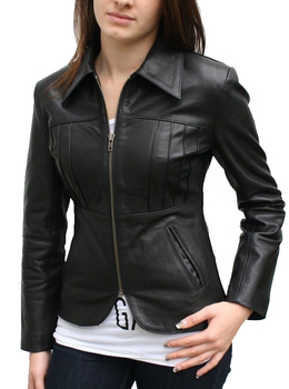 Women's Black Leather-look Fringed Fallaway Jacket,Ladies Leather ...