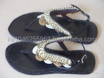 African Beaded Gladiator Sandals - Buy African Masai Leather ...