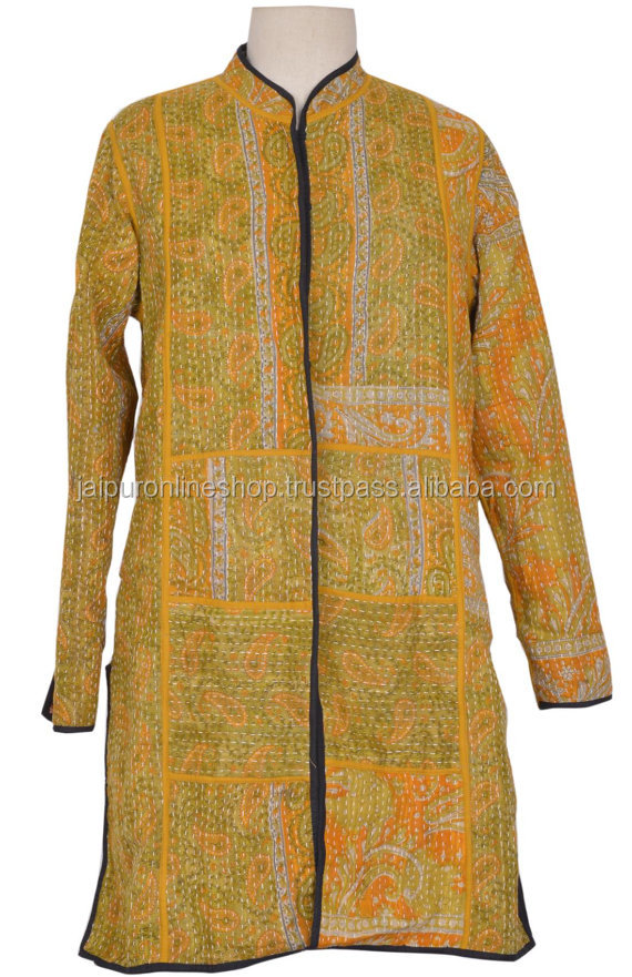 Indian Hand Block Print Short Winter Jackets For Girl's