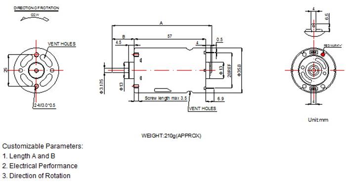 555 High Torque 24v Dc Motor Brush Micro Rs 555sh Dc