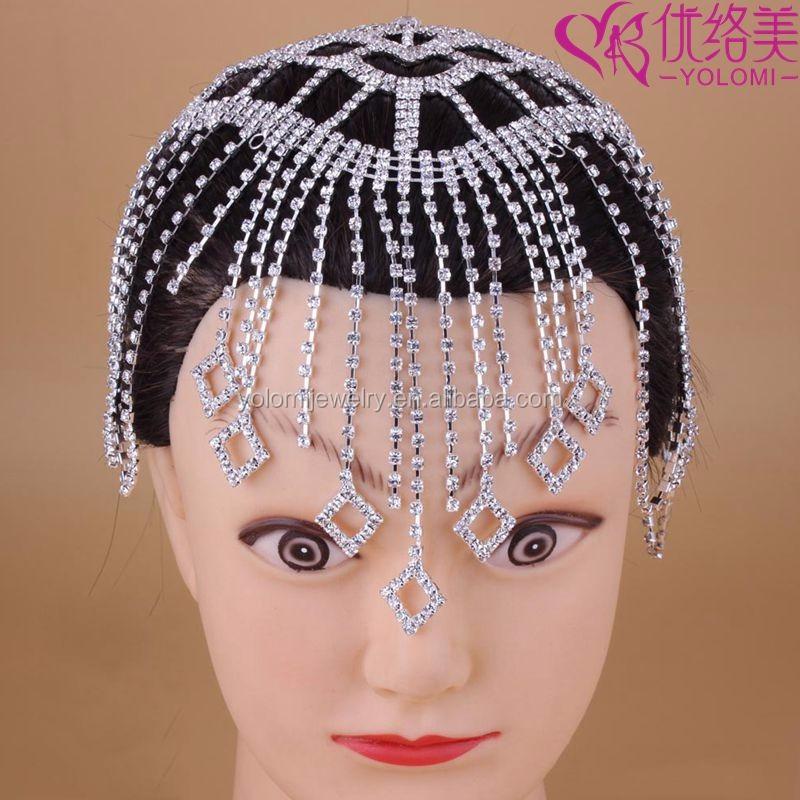 Indian Head Chain Bridal Hair Jewelry Indian Headpiece Rhinestone