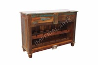 Antique Recycle Wood 2 Drawer Wine Cabinet