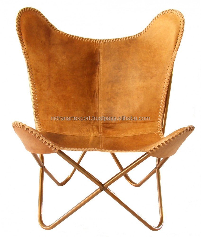 Industrial Vintage Iron Leder Easy Butter Fly Design Chair Buy Wrought Iron Chairs Beige Leather Chair Leather Folding Chair Product On Alibaba Com