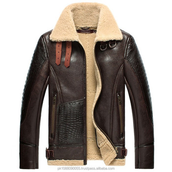 Men's Designer Sheepskin Leather Bomber Flying Jacket Brown - Buy ...