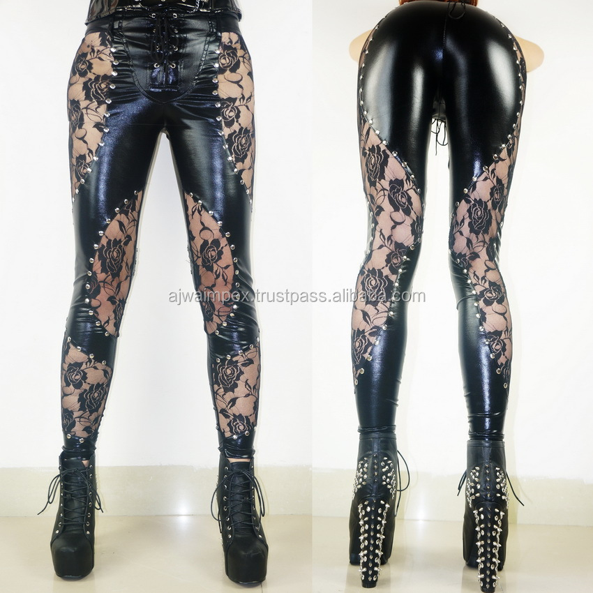 leather pant Plus-Size-New-Women-Sexy-Lace-Faux-Leather-Gothic-Rock-font-b-Legging-b-font-Heavy