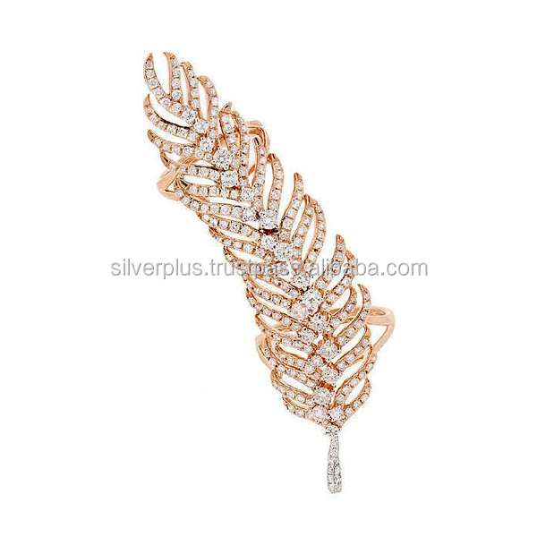 18kt Yellow Gold Pave SI Quality Brilliant Cut Diamond Feather Ring Fine Jewelry