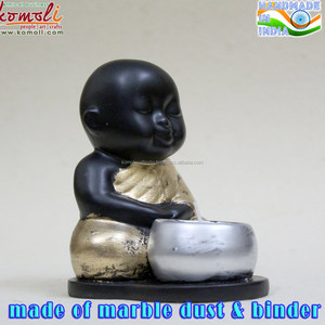 Simple monk baby buddha statue for sale with tea light