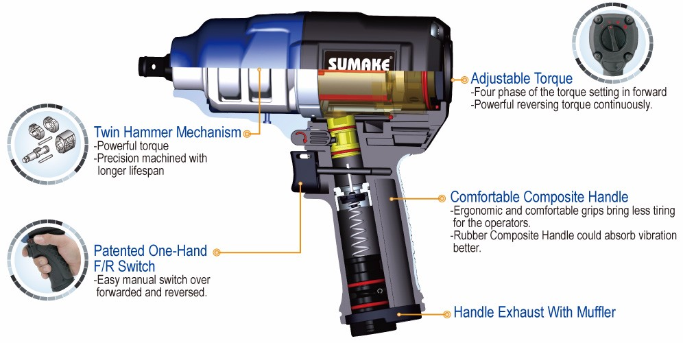 Sumake St C556 Twin Hammer Torque Adjule Air Impact Wrench