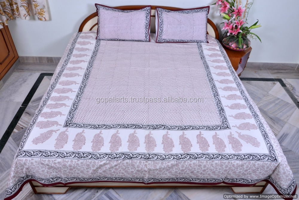 Indian Traditional Block Printed Bed Sheet Bohemian Cotton Handmade Bedspread Bed Cover With Pillow Covers