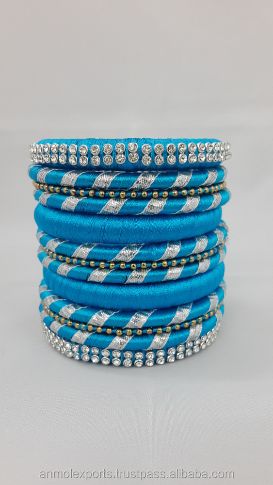 New Collection Multicolor Silk Thread Bangle 13 Pc Set Bracelets 16080303