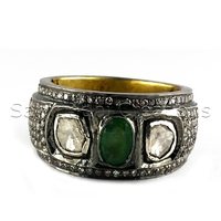 Vintage Victorian 925 Sterling Silver Gemstone Emerald 925 Silver Rose Cut Diamond Ring Jewelry, Fashion Diamond Jewelry,
