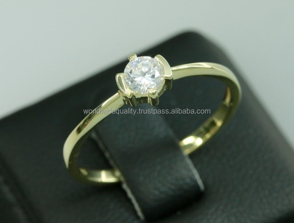 Best gift for your beloved single stone ring designs 14k gold jewelry wholesale 1 gram gold jewellery