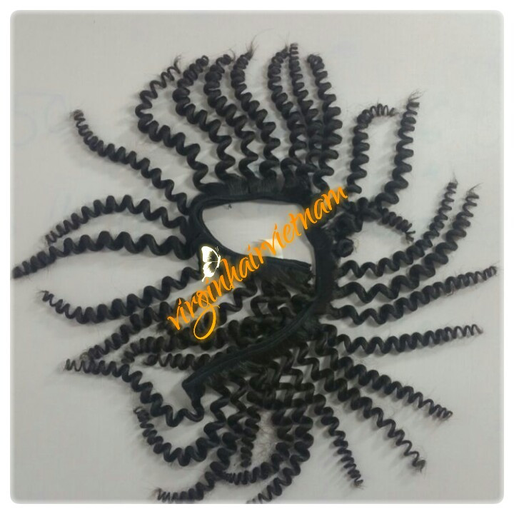 Black Curly Weft With Glue No Chemical Virgin Remy Vietnam Human Hair