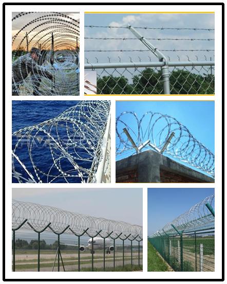 Various Sizes Razor Barbed Wire Galvanized Razor Barbed