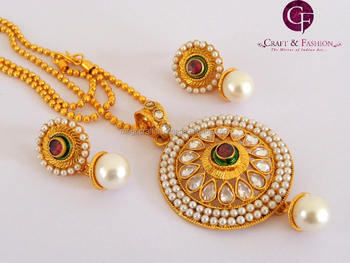 One gram gold plated pendant set wholesale indian ethnic handmade one gram gold plated pendant set wholesale indian ethnic handmade polki jewelry kundan jewelry mozeypictures Gallery